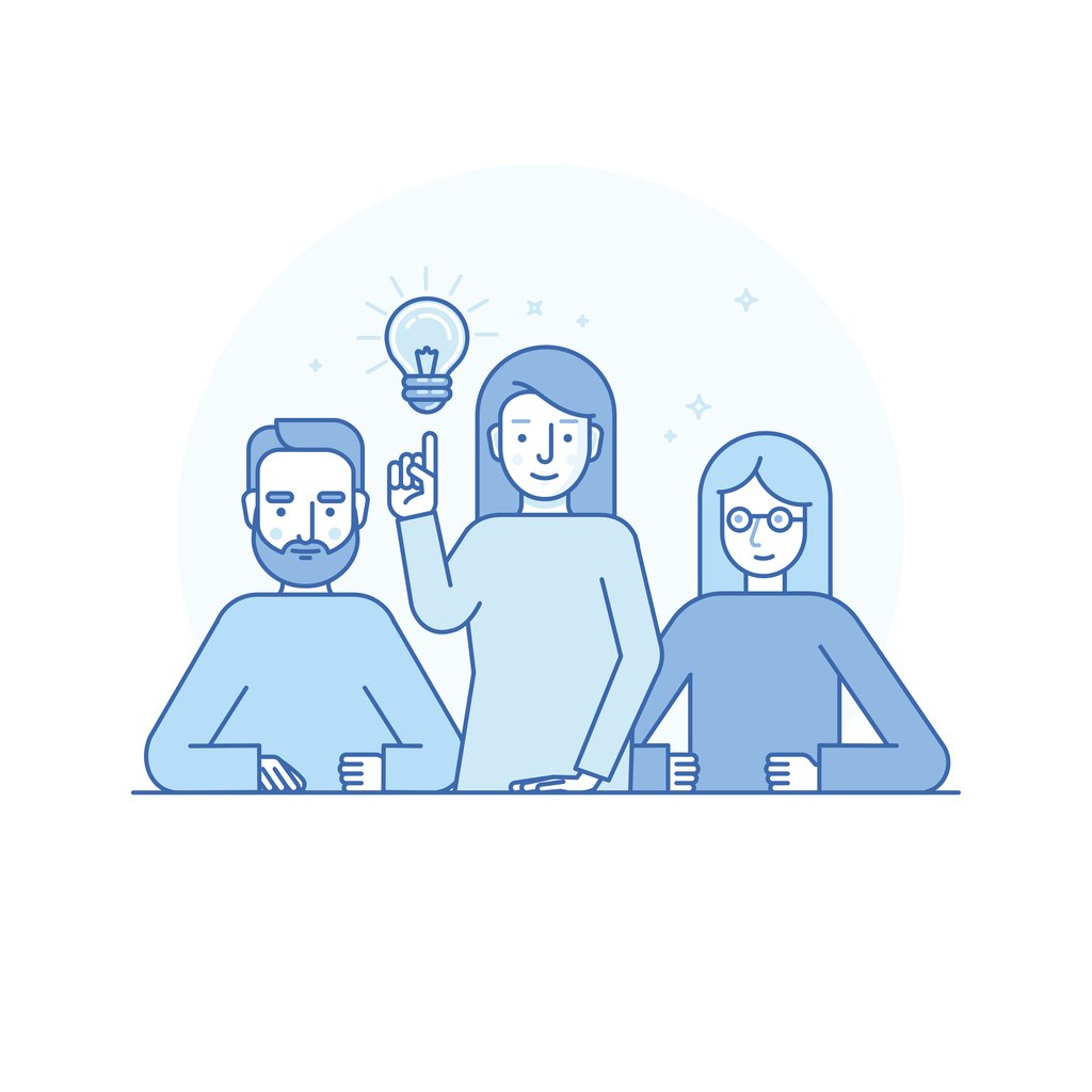 Image cartoon of a man and two women pointing to a lightbulb as they have come up with an idea